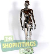 Female Chrome Mannequin With Abstract Face